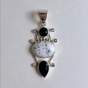 Jewelry - Dendritic Opal + Onyx Sterling Silver Pendant